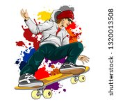 the young skateboarder   Shutterstock .eps vector #1320013508