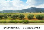 Small photo of Beautiful view to a picturesque green landscape from the window of the moving train. Summer peaceful countryside with boundless fields, distant buildings and hills on the horizon.