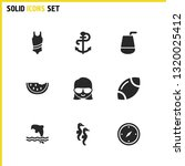 sunny icons set with sea horse  ...