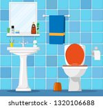 bathroom interior with toilet... | Shutterstock .eps vector #1320106688