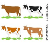 cows  set of cows on a green... | Shutterstock .eps vector #1320116822