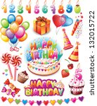 happy birthday set | Shutterstock .eps vector #132015722