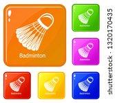 badminton icons set collection...