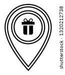 gift icon and and map pin. logo ...