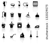 cleaning icons set   black... | Shutterstock .eps vector #132029075
