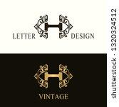stylish capital letter h.... | Shutterstock .eps vector #1320324512