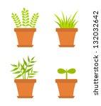 plants growing in pots. vector... | Shutterstock .eps vector #132032642