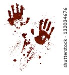 Bloody Hand Prints Isolated On...