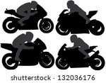 Guy on Motorcycle Silhouette on white background - stock vector