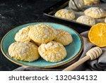 lemon crinkle cookies | Shutterstock . vector #1320434132