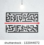 ceiling lamp and drawing maze... | Shutterstock . vector #132044072