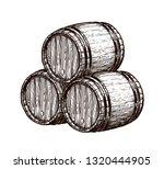 wooden wine barrels. hand drawn ... | Shutterstock .eps vector #1320444905