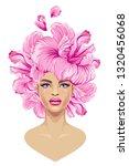 girl head flowers on a white... | Shutterstock .eps vector #1320456068
