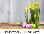 cute photo with easter eggs and ... | Shutterstock . vector #132049895