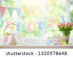 easter home decoration. basket... | Shutterstock . vector #1320578648