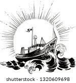 shipping boat in the stormy sea | Shutterstock . vector #1320609698