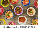 pasta with vegetables and sauce ... | Shutterstock . vector #1320653975