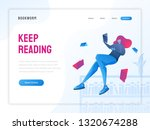 girl reading a book  library... | Shutterstock .eps vector #1320674288