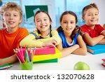 portrait of cheerful school... | Shutterstock . vector #132070628