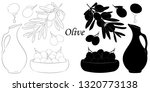 olive silhouette and sketch on... | Shutterstock .eps vector #1320773138