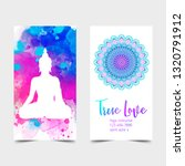 yoga card design. colorful... | Shutterstock .eps vector #1320791912