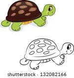 cartoon turtle. coloring book....