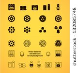 vector battery and leds icons... | Shutterstock .eps vector #132085748