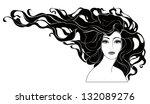 monochrome portrait of a woman... | Shutterstock . vector #132089276