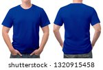 close up blue t-shirt cotton man pattern isolated on white background.