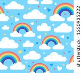 rainbow  clouds and hearts.... | Shutterstock .eps vector #1320935222
