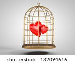 3d hearts in a golden cage | Shutterstock . vector #132094616
