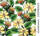 seamless pattern with tropical... | Shutterstock . vector #1320983165