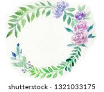 wreath of leaves and purple... | Shutterstock . vector #1321033175