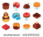 isometric cakes. chocolate cake ... | Shutterstock .eps vector #1321055222