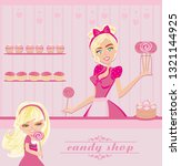 waitress selling lollipops | Shutterstock . vector #1321144925