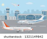 airport building and airplanes...   Shutterstock .eps vector #1321149842