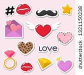 vector romantic icons of love... | Shutterstock .eps vector #1321150238