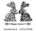 Stock vector vintage card with easter bunny rabbit vector illustration 132115508