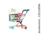 colorful vector supermarket...   Shutterstock .eps vector #132118586