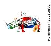 colorful vector rhino... | Shutterstock .eps vector #132118592