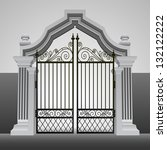 baroque entrance gate with... | Shutterstock .eps vector #132122222
