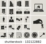 houses and real estate vector icons set