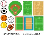 sports ground and ball | Shutterstock .eps vector #1321386065