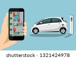 a hand with a phone on the... | Shutterstock .eps vector #1321424978