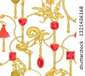 baroque print with gems  golden ... | Shutterstock .eps vector #1321436168