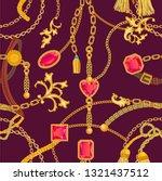 baroque print with gems  golden ... | Shutterstock .eps vector #1321437512