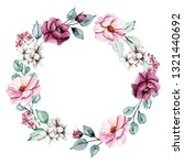 wreath with watercolor flowers  ... | Shutterstock . vector #1321440692