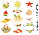 collection of summer beach... | Shutterstock .eps vector #132148796