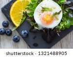 fried eggs with bread toast on...   Shutterstock . vector #1321488905