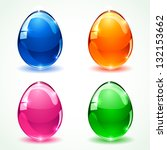 set of colorful glossy easter... | Shutterstock .eps vector #132153662